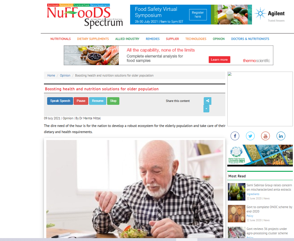Boosting health and nutrition solutions for older population,Nuffoods Spectrum, July9,2021